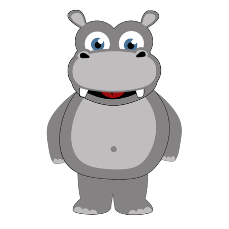 stylistic embellishments: Hippopotamus in caricature cartoon style on white background, vector illustration.