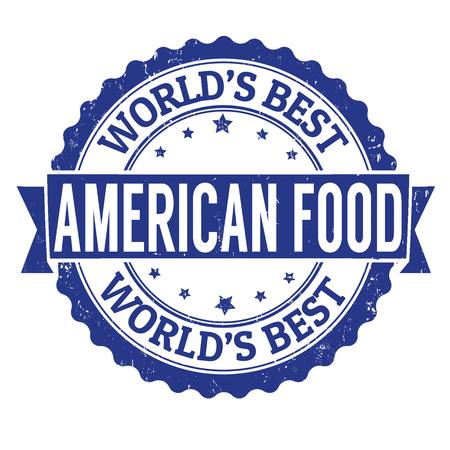 comida americana: Alimentos grunge sello de goma Americana sobre blanco