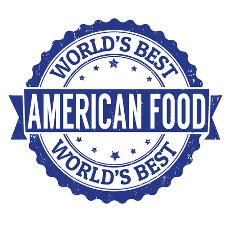 american food: American food grunge rubber stamp on white