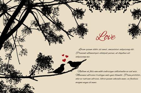 bandada pajaros: Pareja de aves lindo amándose en la rama en fondo de estilo retro