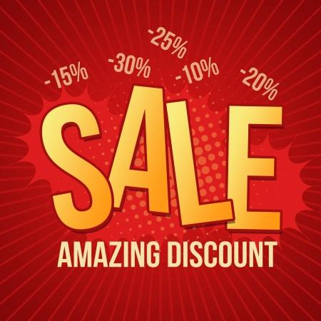 sensational: Sale, amazing discount design template on red background Illustration