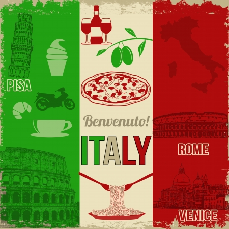 Italy travel grunge seamless pattern with national italian food, sights, map and flag Illustration