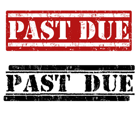due: Past due grunge rubber stamps on white