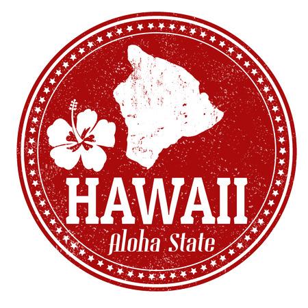 Vintage timbre avec le texte écrit à l'intérieur Aloha État et la carte d'Hawaï Banque d'images - 25528888