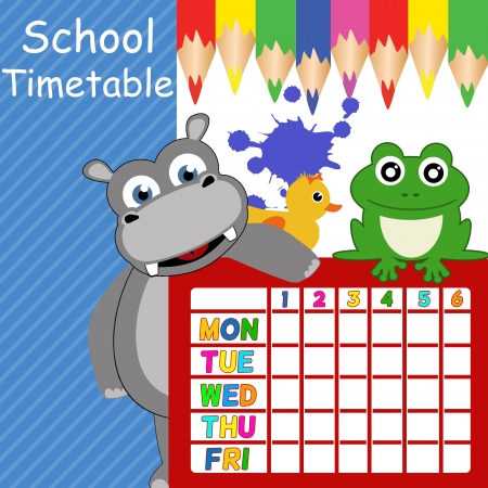 school schedule: School timetable with funny animals