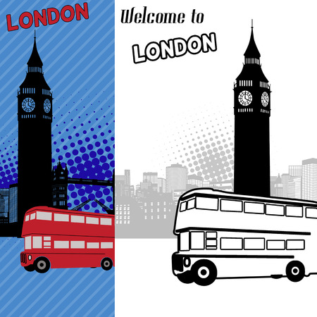 London in original style cityscape poster Vector