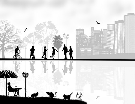 people relaxing: Design background with beautiful landscape and people silhouette with reflection on water