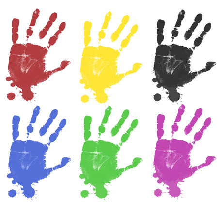 Multicoloured hand prints isolated on white background Vector