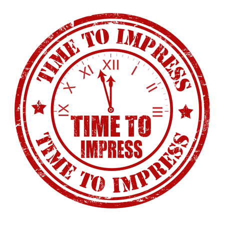 impress: Time to impress grunge rubber stamp on white, vector illustration