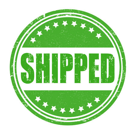 shipped: Shipped grunge rubber stamp on white, vector illustration