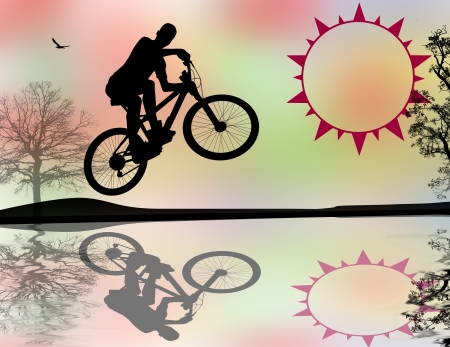 one wheel bike: BMX cyclist on abstract  background, vector illustration