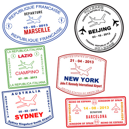 australia stamp: Passport grunge stamps from Marseille, Beijing, Lazio, New york, Sydney and Barcelona, vector illustration