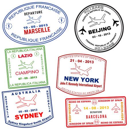 timbre voyage: Timbres passeport grunge de Marseille, Pékin, Latium, New York, Sydney et Barcelone, illustration vectorielle