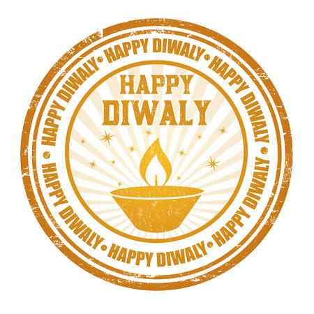 Happy Diwali grunge rubber stamp on white, vector illustration Vector