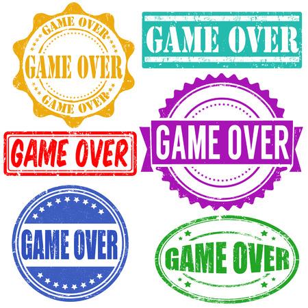 Game over vintage grunge rubber stamps set on white, vector illustration Vector