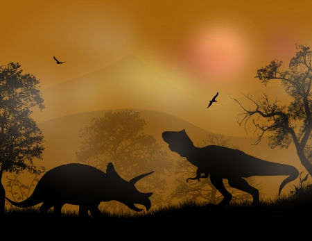 Dinosaurs Silhouettes - Tyrannosaurus T-Rex and Triceratops, in beautiful sunset, vector illustration