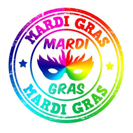 mardi gras background: Grunge rubber stamp with the text Mardi Gras written inside, vector illustration Illustration