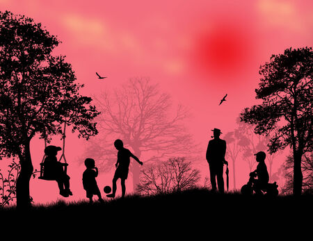 Children playing in a park on beautiful place, vector illustration Vector