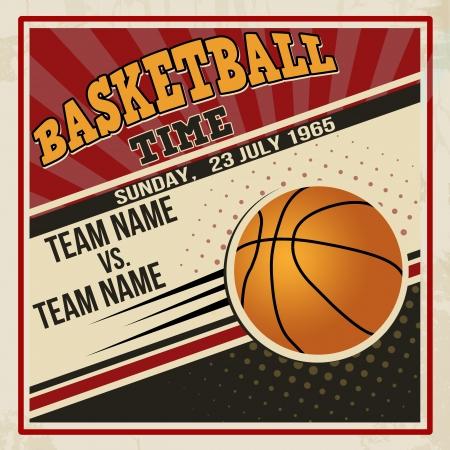 locandina arte: Retro disegno basketball poster d'epoca grunge concetto di sport volantino, illustrazione vettoriale