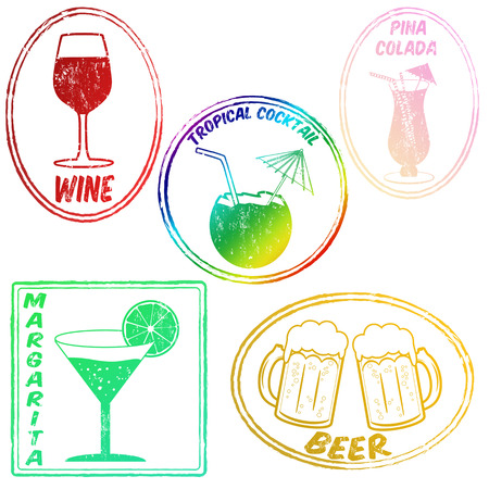 colada: Retro set of drinks  wine,tropical cocktail, pina colada,margarita,beer  stamps on white, vector illustrarion