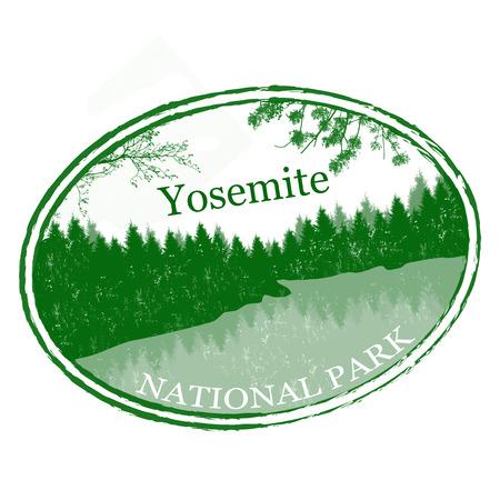 yosemite national park: Green grunge rubber stamp with the name of Yosemite National Park from United States of America