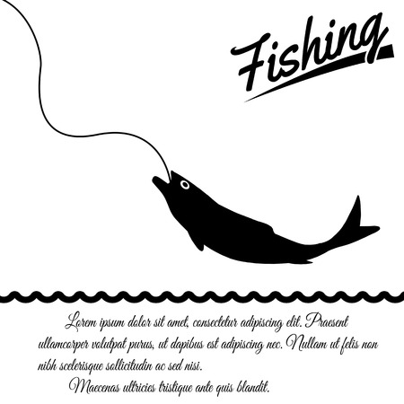 Fishing design poster on white background with space for your text, vector illustration Vector