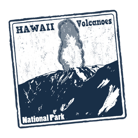 eruption: Blue grunge rubber stamp with text Hawaii Volcanoes, National Park on white background, vector illustration