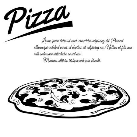 pizzeria label: Pizza menu design poster on white background with space for your text, vector illustration