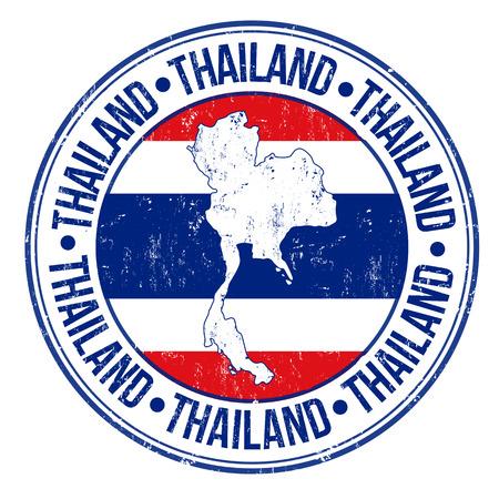 passaporto: Grunge timbro di gomma con la Thailandia bandiera, mappa e la parola Thailandia scritto dentro, illustrazione vettoriale