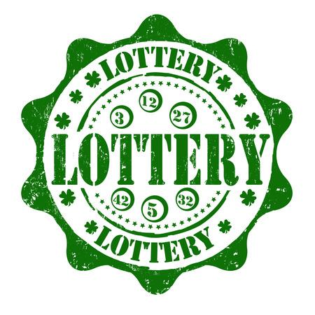 cloverleaf: Lottery grunge rubber stamp on white, vector illustration Illustration