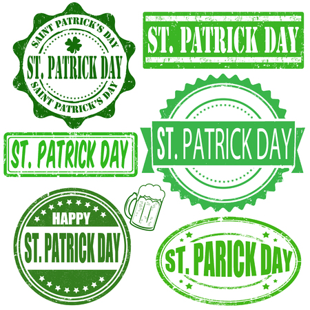 Green vintage grunge stamps set for Saint Patrick day on white, vector illustration Vector