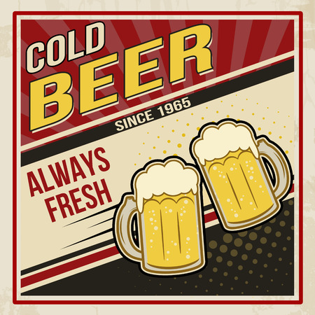Retro beer vector poster. Vintage poster template for cold beer, vector illustration Vector