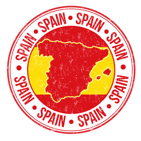 Grunge rubber stamp with Spanish flag, map and the word Spain written inside, vector illustration