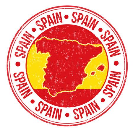 sello: Grunge sello de goma con la bandera española, el mapa y la palabra España escrito en su interior, ilustración vectorial