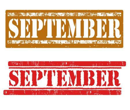 September  grunge rubber stamps on white, vector illustration Vector