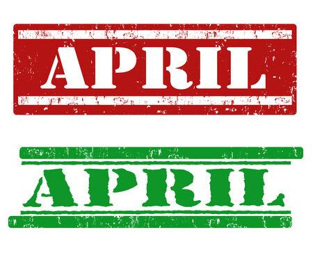 April grunge rubber stamps on white, vector illustration Vector
