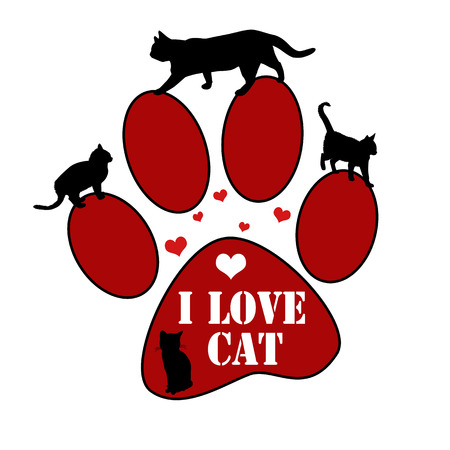 Paw print sticker with text I love cat and cats silhouette on white, vector illustration Vector