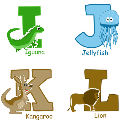 Alphabet animals from I to L on white background, vector illustration Vector