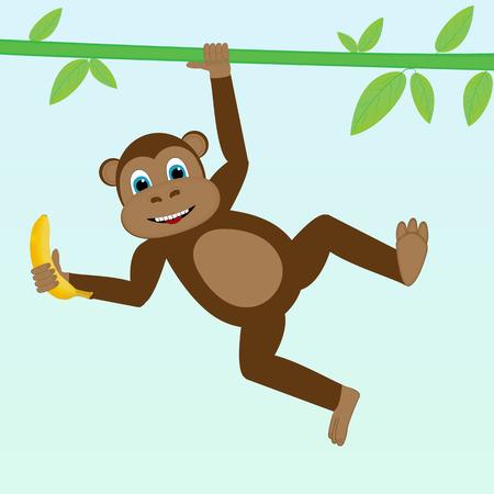 liana: Monkey on liana with banana cartoon, vector illustration Illustration