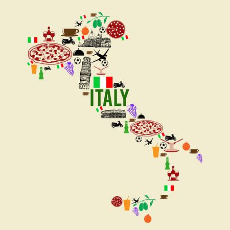 Italië oriëntatiepunt kaart silhouet pictogram op retro achtergrond, vector illustratie Stock Illustratie