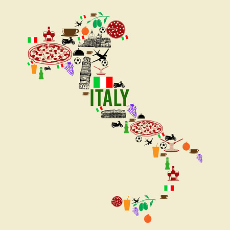Italy landmark map silhouette icon on retro background, vector illustration Ilustração