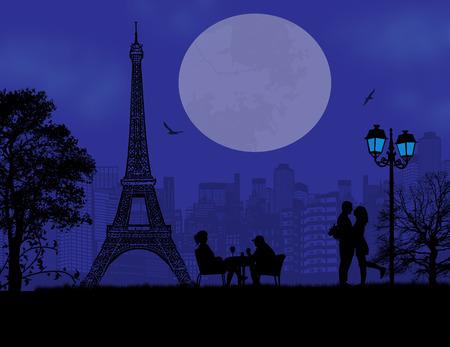 paris skyline: Lovers in Paris on blue sunset background, vector illustration