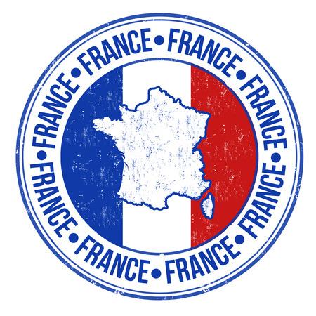 グランジ ゴム製スタンプとフランス フラグ、マップ内に書かれフランスの単語、ベクトル イラスト