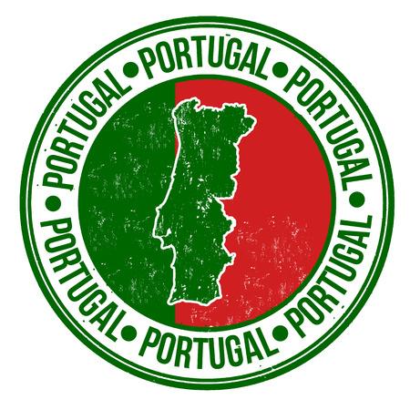 グランジ ゴム製スタンプとポルトガル フラグ、マップ内に記述されたポルトガルの単語、ベクトル イラスト