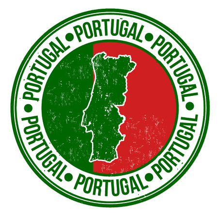 drapeau portugal: tampon en caoutchouc grunge avec le drapeau portugal, carte et le mot �crit � l'int�rieur du Portugal, illustration vectorielle Illustration