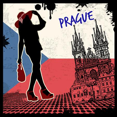 Prague vintage grunge poster, vector illustration Vector