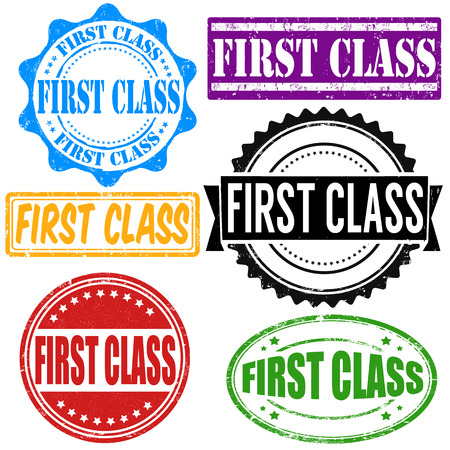 first class: First class vintage grunge rubber stamps set on white, vector illustration
