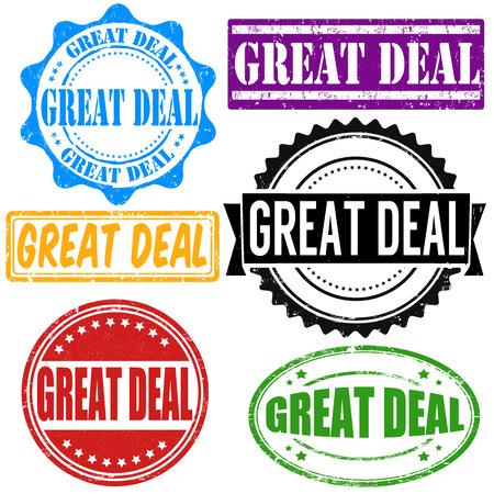 buen trato: Gran oferta sellos de goma del grunge de la vendimia fijados en blanco, ilustración vectorial Vectores