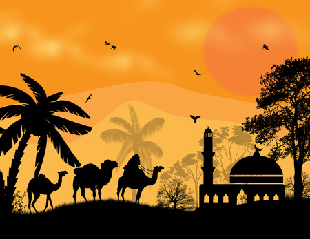 Bedouin camel caravan in arabian landscape on sunset, vector illustration Vector