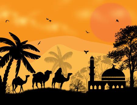 bedouin:  Bedouin camel caravan in arabian landscape on sunset, vector illustration